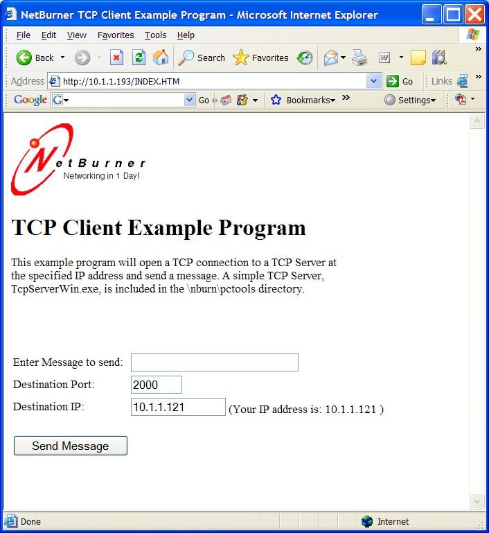 NetBurner 3 0: TCP Client